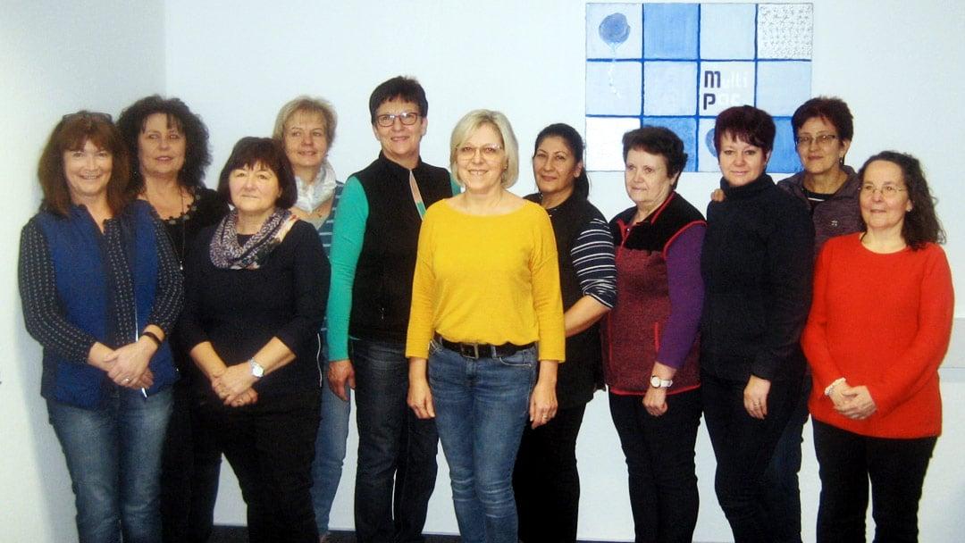 20-jähriges Jubiläum feiern: Helena Dilmann, Anita Greiner , Maria Holzinger, Anne Rathgeb, Christine Rup, Erna Schlotter, Hanne Stegmaier, Katharina Steiger, Svetlana Wangler, Evi Wünsch